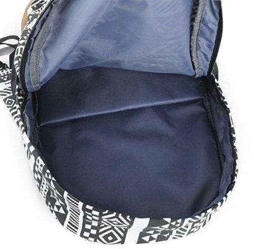 Yiuswoy Retro Nationalen Wind Muster Leinwand Taschen Reisetaschen Schultaschen Rucksack Fuer Schule – Farbe E - 3