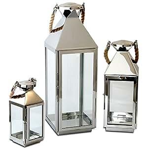 Multistore 2002 Edles 3tlg. Laternen-Set H55,5/40/25cm Edelstahl mit Griff aus geflochtenem Seil und Glasfenstern Laterne Windlicht Gartenlaterne Kerzenhalter Gartenbeleuchtung Dekoration