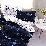 Lanqinglv Sterne Blau Muster Kinder Bettwäsche 220x230 3teilig Mädchen Junge Star Wars Bettbezug Deckenbezug Reißverschluss mit 2 Kopfkissenbezug