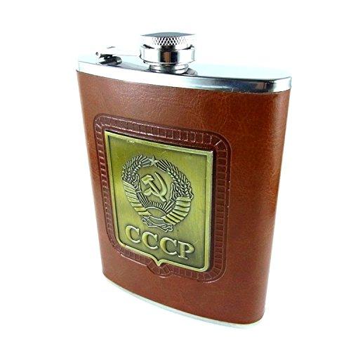 Edelstahl Flachmann Schnapsbehälter Schnaps Flasche CCCP Leder braun 8 oz (240ml)