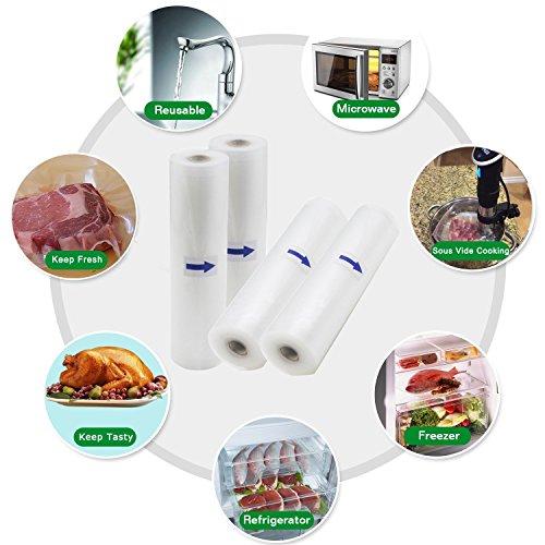 comprare on line Sacchetti per Sottovuoto 4 Rotoli 20x500 e 28x500cm,Rotoli per Alimenti, Rotoli Sacchetti goffrati ,Approvazione FDA e BPA liberi-kitchenboss prezzo
