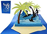 LIN 17409, POP- UP Karte 3D Grußkarten, pop up Karten Geburtstag, Glückwunsch Geburtstagskarten Reisegutschein Reise Urlaub Surferinsel, N714