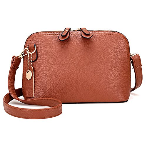 Longra Donna Retro doppio diagonale borsa Zipper Marrone