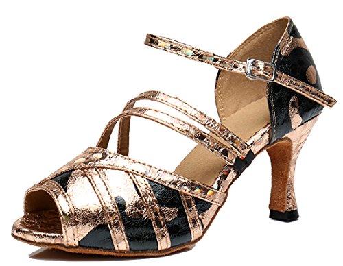 TDA ,  Damen Peep Toes 7.5cm Heel Gold Black