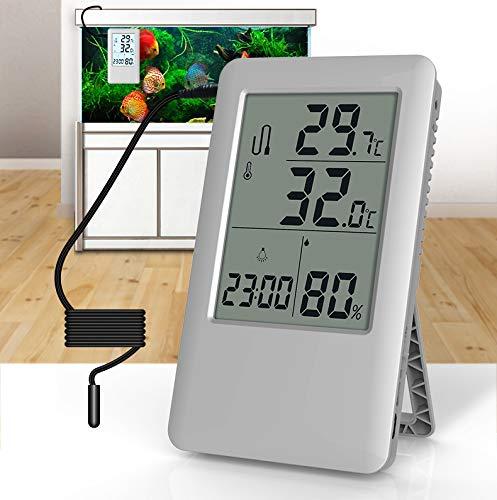 4 in 1 Aquarium-Thermometer, Feuchtigkeits-Prüfvorrichtung Raumtemperatur-Prüfvorrichtung Automatischer Speicher der hohen niedrigen Temperatur an der Wand befestigtes Tabellen-Pendel USB-Aufladung