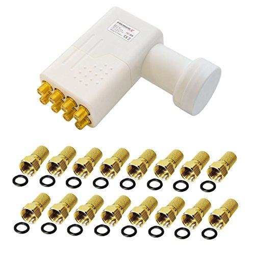 PremiumX LNB Octo 0,1 dB PXO-08 WE Weiß zum Direktanschluss von 8 Teilnehmern Digital HDTV FullHD 3D tauglich + 16 F-Stecker vergoldet