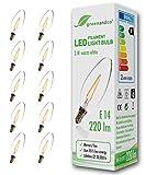 10x greenandco® Glühfaden LED Lampe ersetzt 25 Watt E14 Kerze, 2W 220 Lumen 2700K warmweiß Filament Fadenlampe 360° 230V AC nur Glas, nicht dimmbar, flimmerfrei, 2 Jahre Garantie