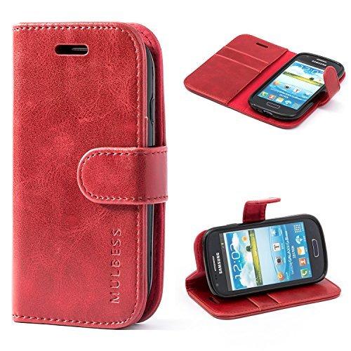 Mulbess Custodia per Samsung Galaxy S3 Mini, Cover Samsung Galaxy S3 Mini Pelle, Flip Cover a Libro, Custodia Portafoglio per Samsung Galaxy S3 Mini, Vino Rosso