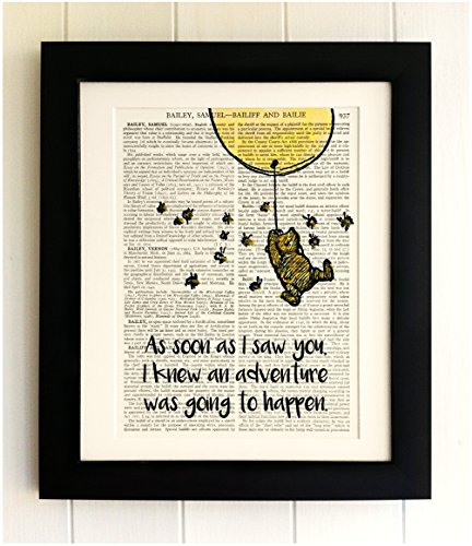 framed-winnie-the-pooh-art-print-on-old-antique-book-page-yellow-balloon-adventure-quote-vintage