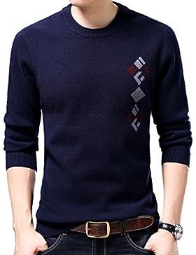 WTUS Crew Neck Slim Fit Suéter de Cachemira para Hombre,Azul/Gris