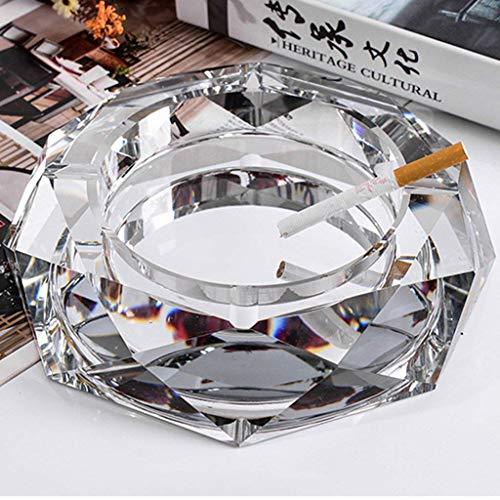 Auto-Aschenbecher, Kristall Aschenbecher Modus kreativ personalisierte Geschenk im Europaischen Stil langlebig nach Hause Reise Glasprodukten, Gold, 18cm, Silber