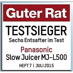 Panasonic Mj L500 Slow Juicer Sistema Di Estrazione : Panasonic MJ-L500 Slow Juicer Sistema di Estrazione, Senza Lame, Acciaio