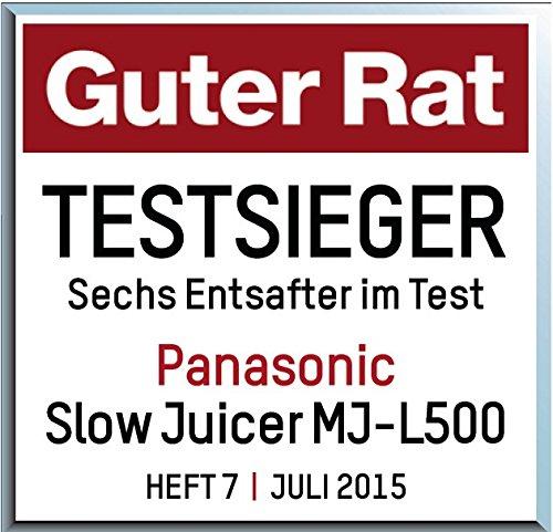 Panasonic MJ-L500 Slow Juicer Sistema di Estrazione, Senza Lame, Acciaio - Estrattori di Succo