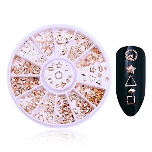 coulorbuttons 1Box Legierung Geometrie Rose Gold Star Stift Nail Ohrstecker 3D Nail Art Dekoration (Sandalen Flache Perlen)
