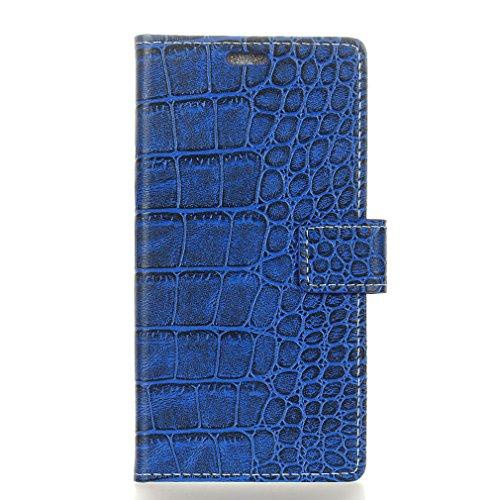 SZHTSWU Hülle für Wileyfox Spark X (5,5 Zoll), Magnetverschluss Retro Krokodil Muster PU Leder Tasche Schutzhülle Flip Wallet Etui Handytasche mit Kartenfächern und Standfunktion, Blau
