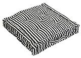 Homescapes dekoratives Sitzkissen Stuhlkissen Sitzerhöhung Stuhlauflage Stripes, schwarz/weiß, 40 x 40 cm, 100% reine Baumwolle mit Polyester Füllung