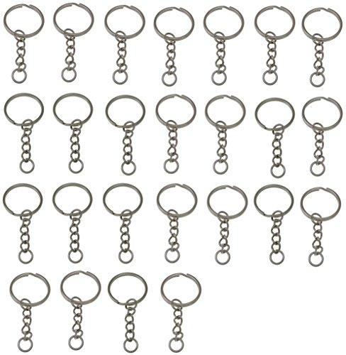 LIHAO Set 25 Schlüsselringe mit Kette Schlüsselanhänger Keyring Chain 25mm Edelstahl
