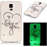 Ecoway Noctilucent Luminous Carcasa Ultra TPU Funda Case for Samsung Galaxy S5 SV I9600 G900 , Ultra Thin Carcasa Anti Slip Soft Bumper Scratch Resistant Back Cover Crystal Clear Flexible Silicone Case Parachoques Carcasa Funda Bumper - Love you