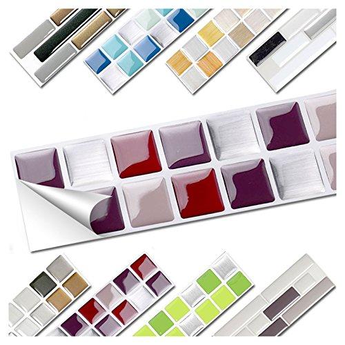 Wandora 1 Set Fliesenaufkleber 25,3 x 3,7 cm Rot Beige Silber Design 4 I 3D Mosaik Fliesenfolie Küche Bad Aufkleber W1536 (4 Design 4 X)