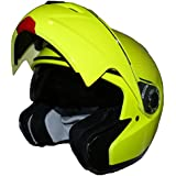 Protectwear Casque de moto intégral pliant, jaune brillant néon,  avec pare-soleil intégré, KH-910-NEO, Taille: L