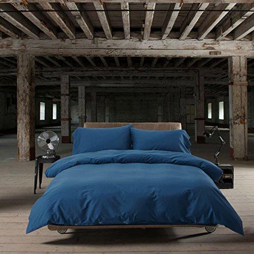 Bettwäsche blau Set 4teilig Bettbezug 100% Bio-Baumwolle einfarbig 200x 230cm Bettdeckenbezug Microfaser mit 2x 50x70cm Kissenbezug (Bio-bettbezug)