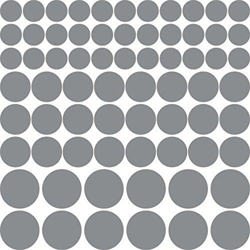 Adesivo coriandoli 69 pezzi set point pois diverse dimensioni (57x57cm // 074 grigio medio)