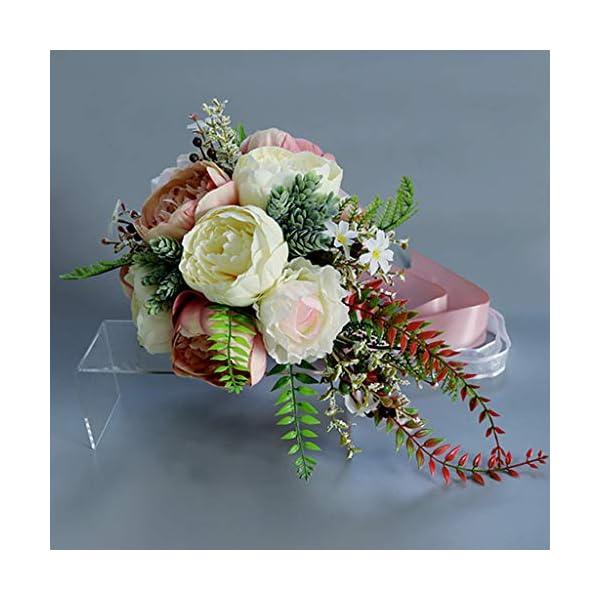 The World'S First – Ramo de Novia romántico para Dama de Honor, Cascada de Flores Artificiales con Cinta Larga