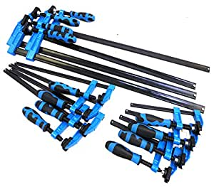 """Blue Handled 12pc F Clamp Bar Clamp 4X 6"""", 4X 12"""" & 4 x 24""""Long Quick Slide Wood Clamp"""