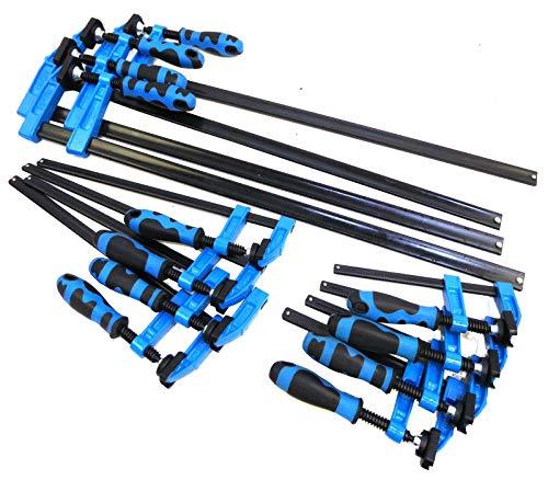F-Klammerzwinge mit Schnellschieber, 4x 150 mm, 4x 300 mm und 4x 600 mm, blauer Griff, 12 Stück