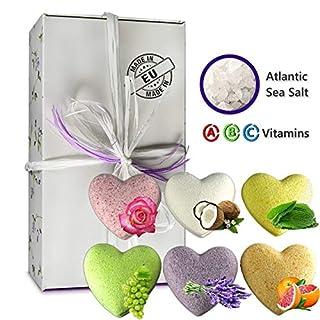 AquaZEN Bombes de Bain Ensemble-cadeau Soins de Savon Spa Hydratant avec Huiles Essentielles Naturelles Coeurs