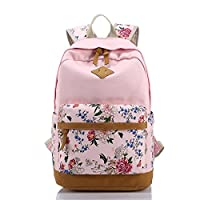 Benchmart Imprint Flower Pattern Canvas School Backpack Laptop Bag Daypack Travel Rucksack Bag School Teens Shoulder Backpack