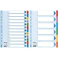 Esselte Intercalaires A4 1-12, Touches et Bande Perforée Renforcées en Mylar, Bleu & Intercalaires A4 6 Touches, Bleu…