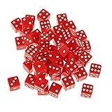 50pcs Acryl Punkt-Würfel Spielwürfel Kinder Spielzeug Würfel 12mm - Rot, 95