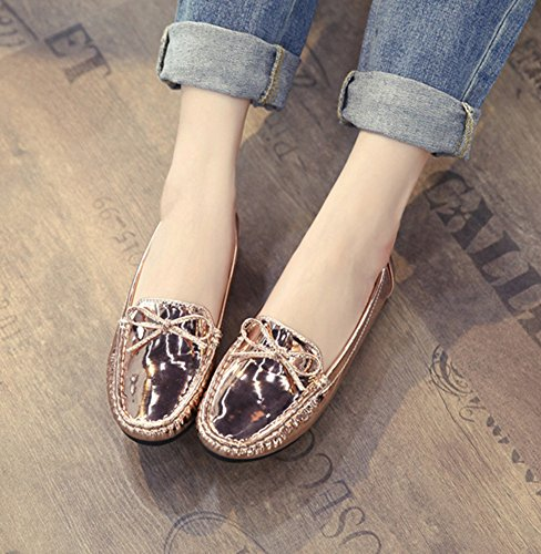 Aisun Damen Bequem Schleifen Metallic Lack Flach Slipper Loafer Mokassins Gold