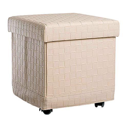 Zedelmaier Sitzhocker Sitzwürfel mit Stauraum Fußbank Truhen Aufbewahrungsbox faltbar belastbar bis 300 kg, Deckel abnehmbar, 38 x 38 x 38 cm (Beige mit Rolle)
