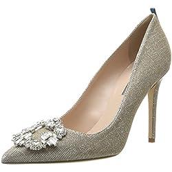 SJP by Sarah Jessica Parker Amira, Zapatos de Tacón para Mujer, Plateado (Lame Fabric Col 340/Argento), 38 EU