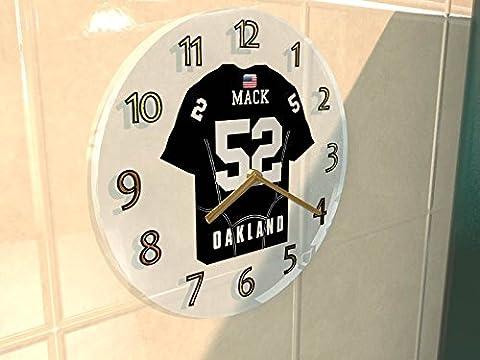NFL National Football League Wanduhren–AFC West American Football Jersey Uhren–Jeder Name, beliebige, jedes Team, Damen Herren Kinder, OAKLAND RAIDERS