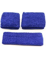 Diadema de sudadera Pasow–Juego de 1 diadema y 2muñequeras de algodón para deportes y actividades al aire libre (tallas S y M)., azul