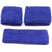pasow Sweatband Diadema–Juego de 1y 2pares pulseras (Talla S y M) para deportes de algodón y actividades al aire libre Azul azul