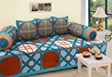 #4: RajasthaniKart Classic 6 Piece 144 TC Cotton Diwan Set - Abstract, Multicolour