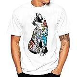Herren T-Shirt, Loveso ★ Schädel Drucken Casual Shirt Herren T-Shirt Kurzarm Shirt Rundhalsausschnitt,Stylische T-Shirt Herren Weiß,2018 Rundhals Bluse Herren Sommer