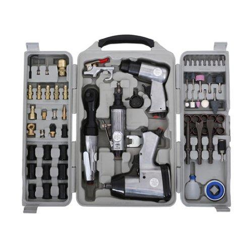 """71-TLG Geräte Set Schlagschrauber Druckluft Ratsche Meißelhammer Stabschleifer (1/4"""" Druckluftanschluss, Schnellkupplung, umfangreiches Zubehör, Koffer)"""