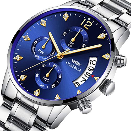 Olmeca uomo orologi di lusso orologi da polso impermeabile moda orologio al quarzo cronografo in acciaio inox per uomo (h-blu)
