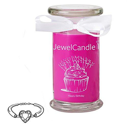 Jewelcandle happy birthday - candela in vetro con un gioiello - candela profumata fucsia con una sorpresa in regalo per te (braccialetto in argento, tempo di combustione: 90-125 ore)