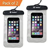BOBO Universal Waterproof Pouch Cellphone Dry Bag Case for iPhone Xs Max XR XS X 8 7 6S 6 Plus, Samsung Galaxy S9 S8 + Note 8 6 5 4, Pixel 3 2 XL, Mi, Moto up to 6.5 inch – Clear White (Pack of 2)