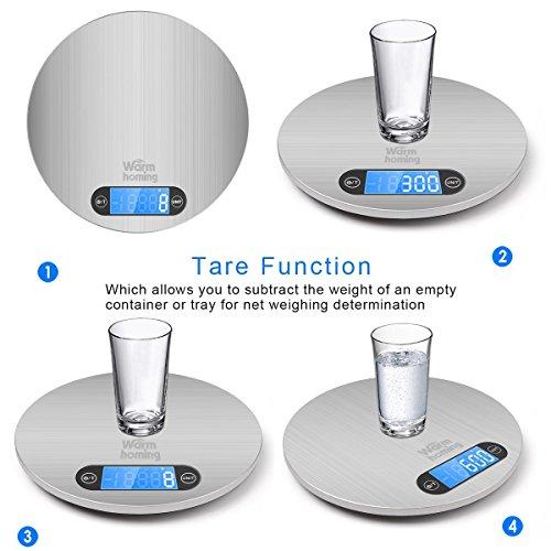 Digitale Küchenwaage Togather Aufhängen Ultra Dünn Hohe Präzision Digitalwaage Küche mit Elektronische Waage Tara-Funktion, LCD-Display (Silber, 5KG) [Energieklasse A+++] - 2