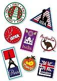 Supertogether World Travel Locations Suitcase Stickers - von 8 Luggage Labels Aufkleber Set