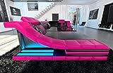 moderno sofá de cuero TURINO en forma de U Negro Rosa