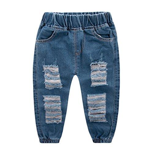 Yujeet Bequeme Atmungsaktive Zerrissene Loch Stil Denim Hosen Mode Weiche Hautfreundliche Jeans Für Baby Jungen 90 - Jeans Zerschlissene