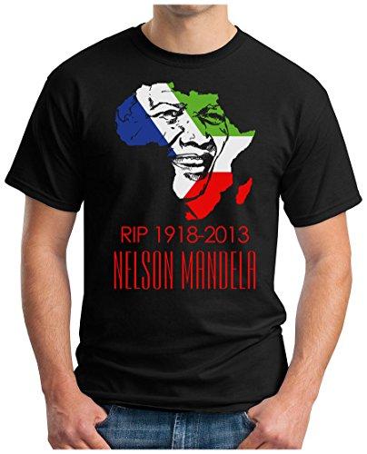 OM3 - Mandela - RIP 1918-2013 - T-Shirt Nelson Madiba Apartheid Süd Afrika Peace Frieden, L, Schwarz